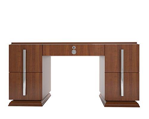OAM Walnuss Art Deco Schreibtisch mit Chromgriffen