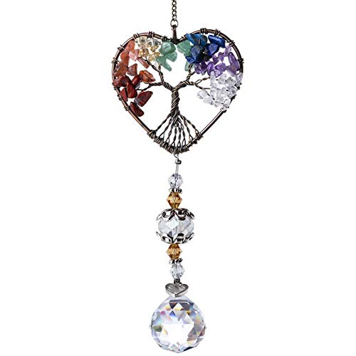 Crystal Suncatcher, Glass Rainbow Maker Pendant Ornament, Window Hanging Tree of Life Decoration with Chakra Bead Chandelier Crystal Hyaline Prism Indoor Outdoor Decor, Gift for Friends Mother
