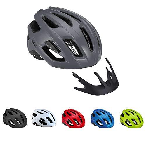 BBB Cycling Unisex-Adult Fahrradhelm Kite Damen und Herren | Abnehmbaren Visier | MTB und Rennrad | BHE-29B M (55-58cm), Matt Grau 2.0, M (55-58 cm)