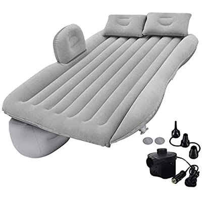 Zmarthumb - Inflatable Car Air Mattress with Pump (Portable) for Travel, Camping, Vacation as Truck SUV Minivan Back Seat Blow-Up Sleeping Pad, Compact Twin Size Bed (Light Gray)