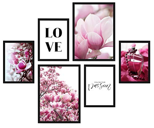 POSTORO Stilvolles Wohnzimmer Poster Set, 6 harmonisch aufeinander abgestimmte Bilder ohne Rahmen, 2 x DIN A3 + 4 x DIN A4 (Passion)