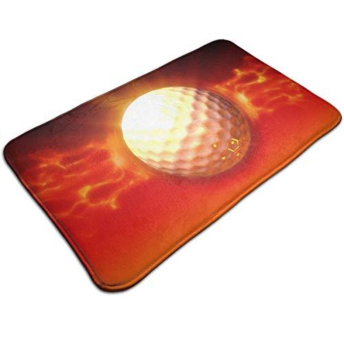 LOVE GIRL Golfball Feuer Art rutschfeste Begrüßungsfußmatte Bodenmatte für Innen/Vordertür/Schlafzimmer/Küche, 80x50 cm