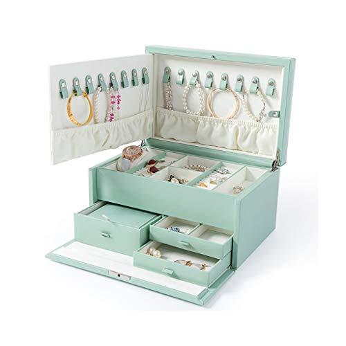 SKK Estuche Maquillaje Caja de joyería de Cuero Genuino Premium Jewelly Organizer Mirror Cajones con Bloqueo de Gran Capacidad Organizador (Color : Blue)