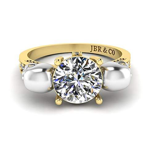 Jbr - Anillo de plata de ley 925 con diseño de calavera de dos tonos con diamantes de corte redondo
