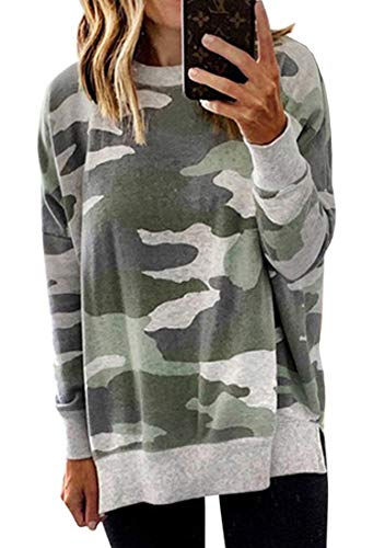 ECOWISH Women's Camouflage Print Casual Leopard Pullover Long Sleeve Sweatshirts Top Blouse 017 Gray Green Medium