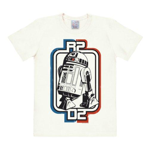 Logoshirt T-Shirt R2D2 - Krieg der Sterne - Star Wars Roboter - R2-D2 Droid - Rundhals Shirt altweiß - Lizenziertes Originaldesign, Größe M