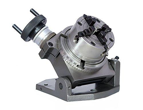 Präzisions-Drehtisch mit 100 mm Neigung + 80 mm Bohrfutter unabhängig 4 Backen + Rückplatte + Muttern für Fräsmaschinen