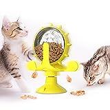 Dihope Drehbarer Katzenspielzeug Drehteller Katzenspielzeug Hundespielzeug Futterspender mit Undichtem Loch Spaß zum Essen für Haustier Windmühle Funny(Gelb,13.8 * 7.4 * 16.3cm)