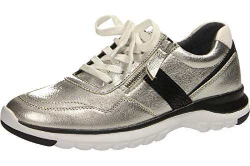 Gabor Damen Sneaker 36.318, Frauen Low-Top Sneaker,Halbschuh,Schnürschuh,Strassenschuh,Business,Freizeit,Silber/schw./Weiss,39 EU / 6 UK