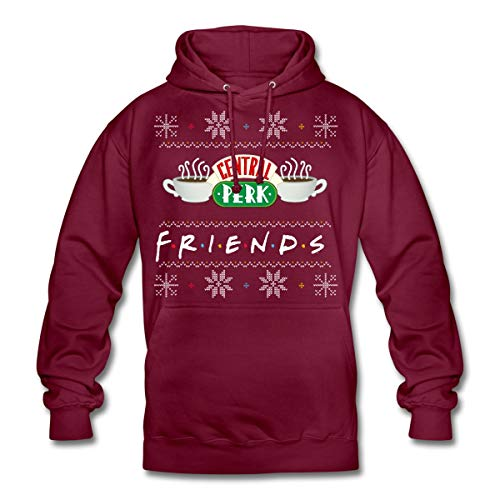 Spreadshirt Friends Pull Moche De Noël Central Perk Sweat À Capuche Unisexe, M, Bordeaux