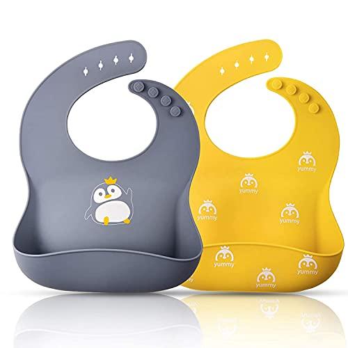 Momcozy Lätzchen Baby 2 Stück, 31cm*24cm Silikon Lätzchen BPA&PVC-frei, 4 Stufen Einstellbar Lätzchen mit Auffangschale Einfach zu Säubern, Wasserdicht Lätzchen für Jungen und Mädchen (Gelb und Grau)