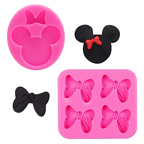 2 PCS Mouse Bows Silicone Mold Cute Mouse Head Fondant Mold for DIY...