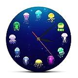 JKLMZYT Reloj de Pared de Medusas oceánicas con Estampado Colorido, decoración de Acuario de guardería, jaleas Marinas, Reloj de Pared Decorativo, Arte de Pared de Animales marinos-30X30cm
