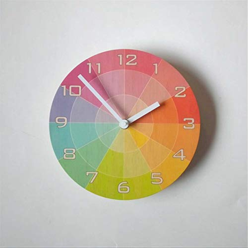 Color S-watch Reloj de pared de madera con números reloj redondo silencioso sin garrapatas 12 pulgadas funciona con pilas para casa, oficina, escuela