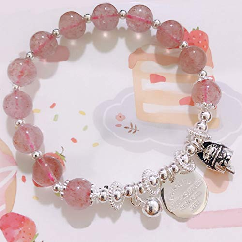 Cosaike Feng Shui Natural Strailberry Pulsera Cristal S925 Silver Six-Words Bead Lucky Cat Bell Bracelet Buena Protección Fortuna Brazalete Stretch Bangle Talismán Riqueza Tranquilidad