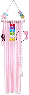 QtGirl 45.8in Hair Bow Holder Organizer Hanger Clip Storage Long Headband Holders for Baby Girls Room Door Wall (Pink and white)