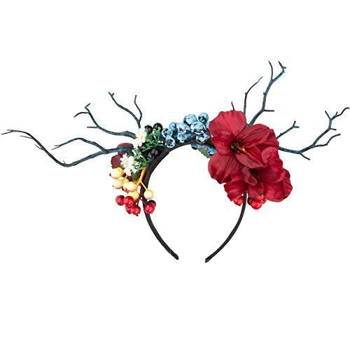 dressforfun 302795 Blumen Haarreif Blumenkranz, REH Geweih, für Dirndl und Trachten Partyy, bunt