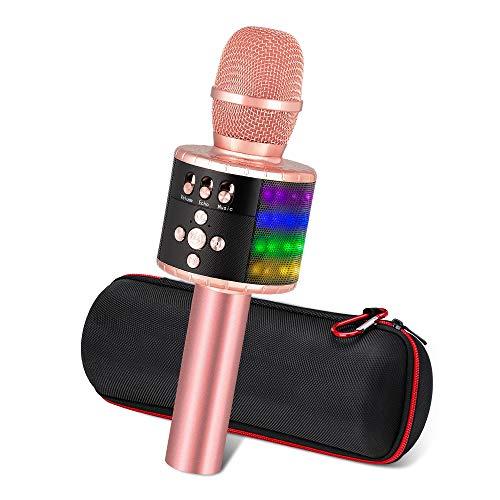 Ankuka Karaoke Mikrofon, Karaoke Mikrophon Bluetooth 4.1 mit schönem Licht, Android /IOS, PC, Ideal für Musik abspielen und singen,drahtloses Karaoke Mikrofon Kinder