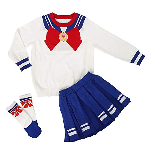 CoolChange Costume di Sailor M. per Bambini di Usagi Tsukino | Maglione & Gonna per Bambini | Taglia: 130