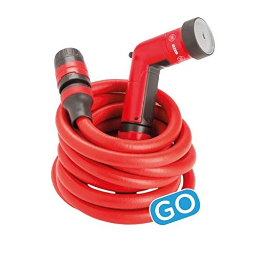 FITT YOYO GO Flexibler Gartenschlauch für Professionelle Bewässerung. Tasche für den Transport, Multifunktions-Wasserpistole, Rot, 20 m