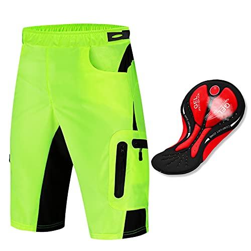 Pantalones Cortos MTB Ciclismo Hombre con Relleno de Gel 4D, Pantalones Cortos de Bicicleta de Montaña con Bolsillos con Cremallera Pantalones Cortos de Gimnasio,Verde,M