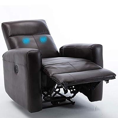 Amazon - Save 10%: Top Grain Leather Massage Recliner, Ergonomic Single Sofa Living Room Chair M…