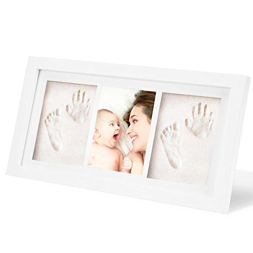 SOLEILER Baby Handprint et Empreinte Kit - Cadre Photo en bois, Non toxique argile Blanc safe - parfait souvenir et un cadeau pour baby, Baptême de bébé, Décorations pour salle mural ou de table