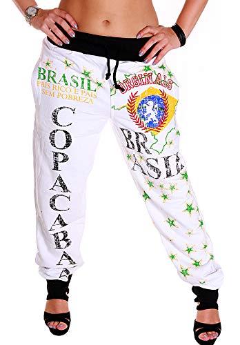 Damen Jogginghose Training Sport Freizeit Sweatpants Fitness Brasilien Hose (Weiß (RC.5.2 1027), XXL)