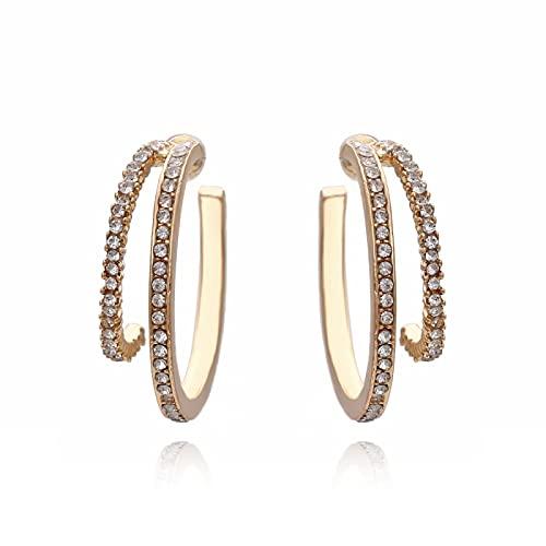 Pendientes de anillo retro de aleación femenina de diamante en forma de C pendientes creativos de moda de múltiples capas de anillo de agua de