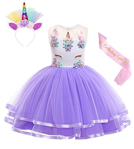 Cotrio Unicorn Costume Flower Girls Pageant Princess Party Dress with Headband 3-Pieces Rainbow Colourful Tutu for Birthday Halloween (6T, 5-6Years, Purple, 130)