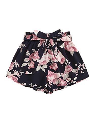 DIDK Damen Locker Shorts Elastischer Bund Casual Sommerhose Sommer Short Kurz Hose mit Schleife Gürtel Blau-Blumen#2 XS