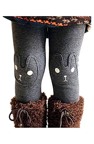 BOWKITE Kids Girls Winter Leggings Bunny Printed Thick Warm Fleece Pants for 2-7 Years Ash Black,130/5-6 Years
