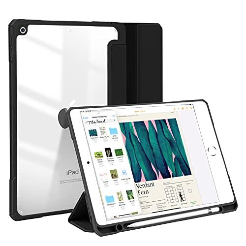JUQITECH Funda con para iPad 8/7 10.2 (10.2 pulgadas, 2020/2019 Modelo, 8ª / 7ª generación), delgada transparente trasera folio...
