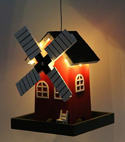 Vogelfutterhaus Vogelhaus Futterhaus Windmühle mit LED Beleuchtung