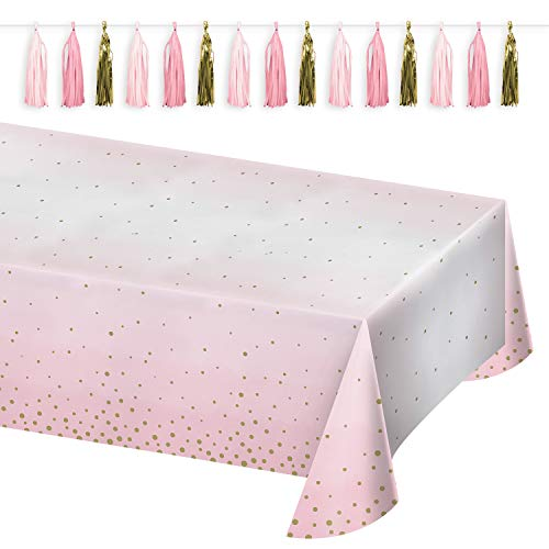 Pink and Gold Party Supplies - Ombre Pink and Gold Confetti Dot Paper Table Cover and Tissue Tassel Garland Set