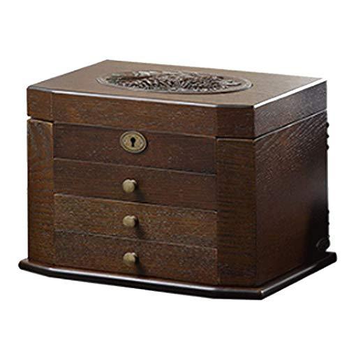 XYZMDJ Caja de Almacenamiento de joyería de Madera Antigua Retro Tallada Caja de Almacenamiento Caja de contenedores Organizador de exhibición de Joyas con Regalo de Bloqueo