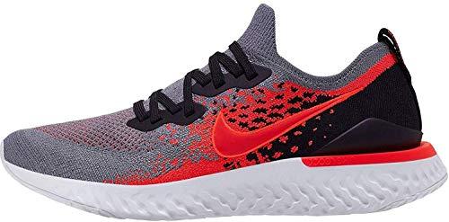 Nike Epic React Flyknit 2, Scarpe da Campo e da Pista Uomo, Multicolore (Cool Grey/Bright Crimson-Black-White 014), 43 EU