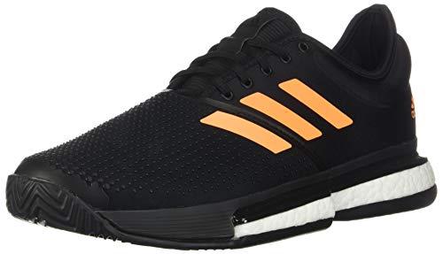 adidas Men's SoleCourt Boost Tennis Shoe, Black/Flash Orange/Carbon, 7 M US