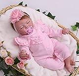 antboat Encantador Muñeca Reborn Bebé Niña 22 Pulgadas 55 cm Silicona Suave Vinilo Niña de Ojos Cerrados Muñecas Vida Real Natural Regalos de Cumpleanos Reborn Dolls