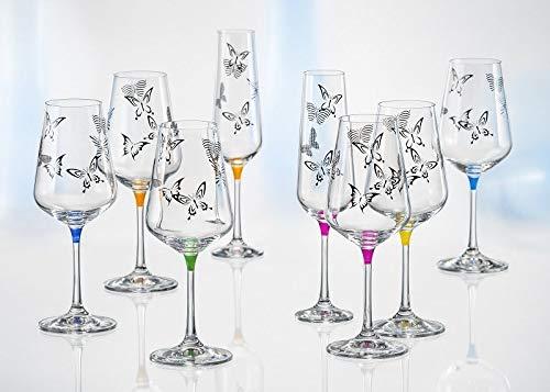 Bohemia Butterfly Weingläser Kristall Weinglas 350 ml Mehrfarbig mit Schmetterlingen 6er Set