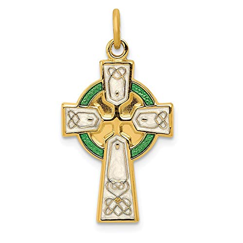 925 Sterling Silver/gold Plated Epoxy Cross Religious Pendant Charm Necklace Celtic Iona Fine Jewelry For Women Gifts For Her