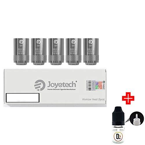 [✅100% ORIGINALPRODUKT✅] 5er Pack Verdampferköpfe JOYETECH BF SS316 0.5 ohm (15-30W) coils + 1 FREI eliquid Leere Flasche 5ml DansLesVapes [OHNE NIKOTIN, OHNE Tabak] (joyBFss316-05)