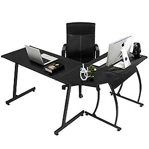 Coavas Computer Office Desk L-Shaped Wood Corner Desk Computer Workstation Large PC Gaming Desk Study Desk Computer Table