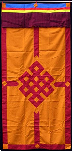 BUDDHAFIGUREN/Billy Held Buddhistischer Türbehang Shrivasta - Endlosknoten orange mit rotem Rand - Tibeter Wandbehang 90x180 cm