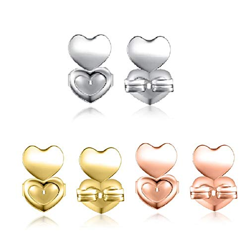 adshi Earring Back Lifters Sterling Silver,Ear Lobe Support Patches,Earring Back Lifts,fortwpmen,3pair