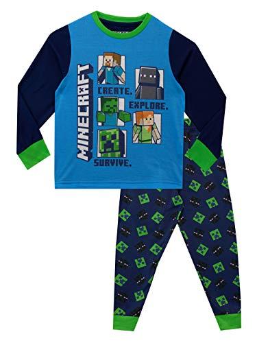 Minecraft Pijamas de Manga Larga Steve y Creeper para Niños Multicolor 8-9 Años