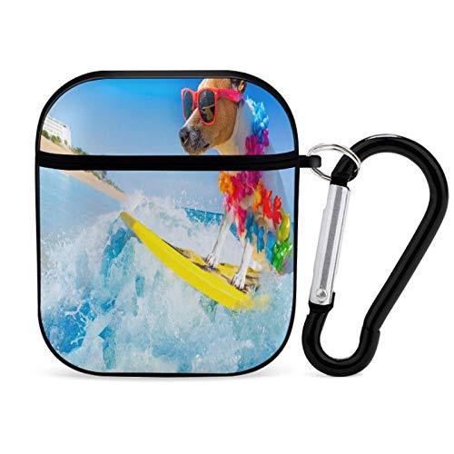 Funda para Airpod, Perro Que Practica Surf en la Tabla de Surf (1) Accesorios para Airpods portátiles y a Prueba de Golpes Estuche rígido Protector para AirPods 2 y 1 con Llavero