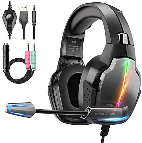 Cuffie Gaming per PS4, FISHOAKY Cuffie Xbox One PC Bass Stereo Profondi Gaming Headset con Microfono Riduzione del Rumore Controllo Volume Confortevole Cuffie Gamer per Laptop Mac Tablet (Nero-2)
