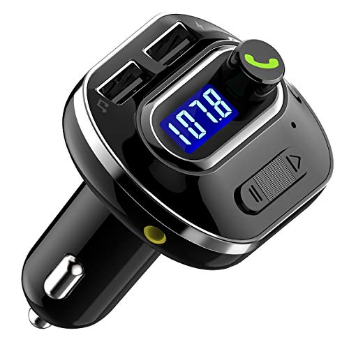 HaiQianXin V4.1 Transmisor FM Bluetooth para coche Adaptador Transmisor de Radio Inalámbrico con Puerto USB Reproductor de Música Soporte Aux Out TF U-Disk Kit de Coche Manos Libres