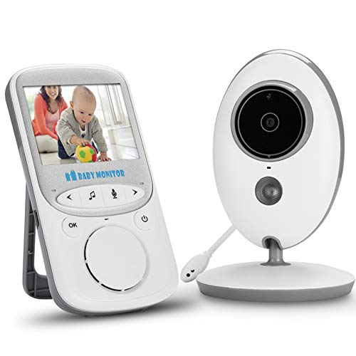 """NVMIAO Vigilabebés Inalambrico con Cámara,【2021 Upgraded】Monitor de Bebé Inteligente con Pantalla LCD de 2.4"""", 2.4 GHz,Visión Nocturna,Despertador,Monitoreo de Temperatura,Comunicación Bidireccional"""